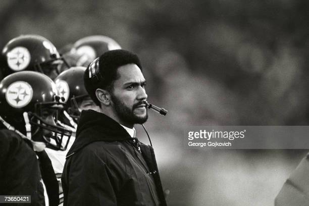 Defensive backs coach Tony Dungy of the Pittsburgh Steelers on the sideline during a game against the Baltimore Colts at Memorial Stadium on November...