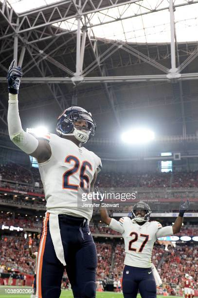 Defensive backs Deon Bush and Sherrick McManis of the Chicago Bears celebrate on the field during the NFL game against the Arizona Cardinals at State...