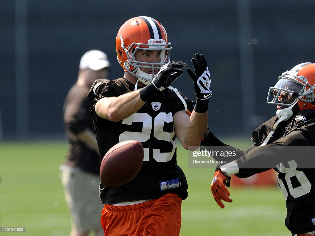 Defensive backs Matt Harris #29 and Ramzee Robinson #38 of the Cleveland Browns battle for a pass during the team's organized team activity (OTA) on May 27, 2010 at the Cleveland Browns practice facility in Berea, Ohio.