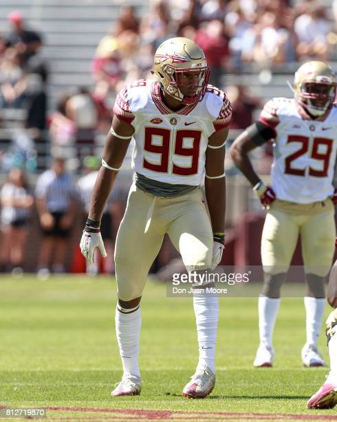Defensive Brian Burns of the Florida State Seminoles during the annual Garnet and Gold Spring Football game at Doak Campbell Stadium on Bobby Bowden...