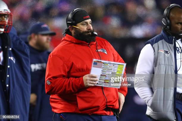 Defensive Coodinator Matt Patricia of the New England Patriots reacts in the second quarter of the AFC Divisional Playoff game against the Tennessee...