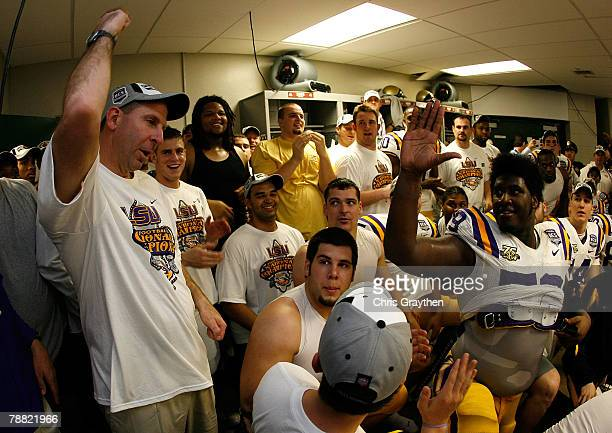 Defensive coordinator Bo Pelini of the Louisiana State University Tigers celebrates defeating the Ohio State Buckeyes 38-24 in the AllState BCS...