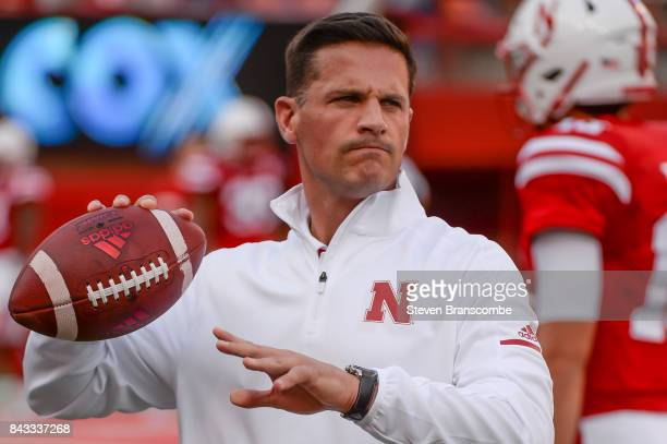 Defensive Coordinator Bob Diaco of the Nebraska Cornhuskers on the field before the game against the Arkansas State Red Wolvesat Memorial Stadium on...