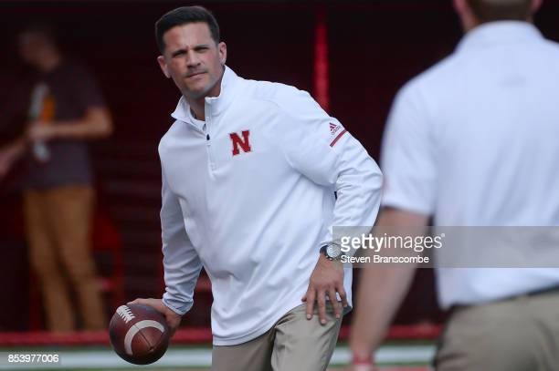 Defensive coordinator Bob Diaco of the Nebraska Cornhuskers warms up before the game against the Rutgers Scarlet Knights at Memorial Stadium on...