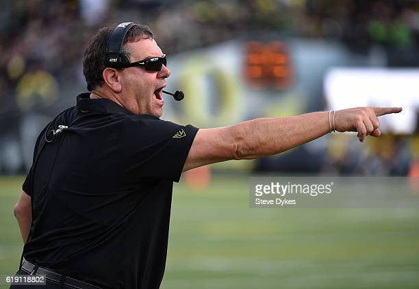 Defensive coordinator Brady Hoke of the Oregon Ducks yells out from the sidelines during the third quarter of the game against the Arizona State Sun...