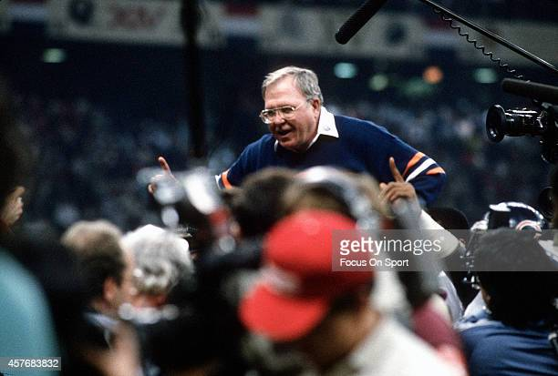 Defensive Coordinator Buddy Ryan of the Chicago Bears gets carried off the field after they defeated the New England Patriots in Super Bowl XX...