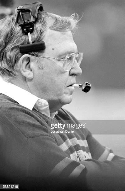 Defensive coordinator Buddy Ryan of the Chicago Bears looks on during Super Bowl XX against the New England Patriots at the Superdome on January 26...