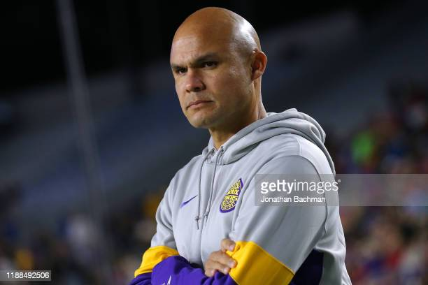 Defensive coordinator Dave Aranda of the LSU Tigers reacts during a game against the Mississippi Rebels at VaughtHemingway Stadium on November 16...