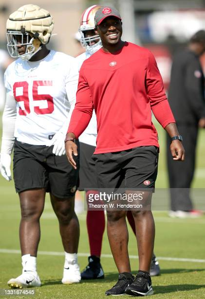Defensive Coordinator DeMeco Ryans of the San Francisco 49ers watches work outs during training camp at SAP Performance Facility on July 31, 2021 in...