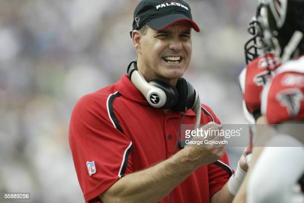 Defensive coordinator Ed Donatell of the Atlanta Falcons on the sideline during a game against the Buffalo Bills at Ralph Wilson Stadium on September...