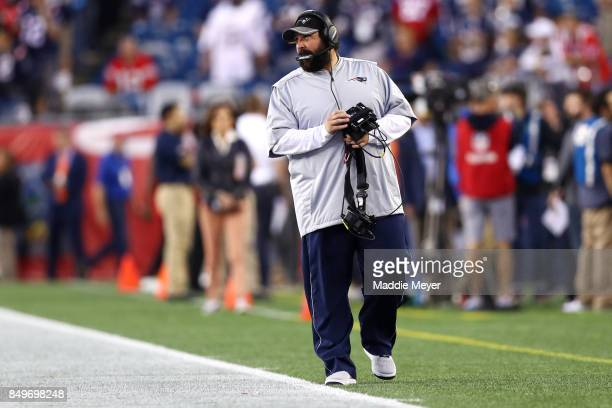 Defensive coordinator for the New England Patriots Matt Patricia before the game against the Kansas City Chiefs at Gillette Stadium on September 7...