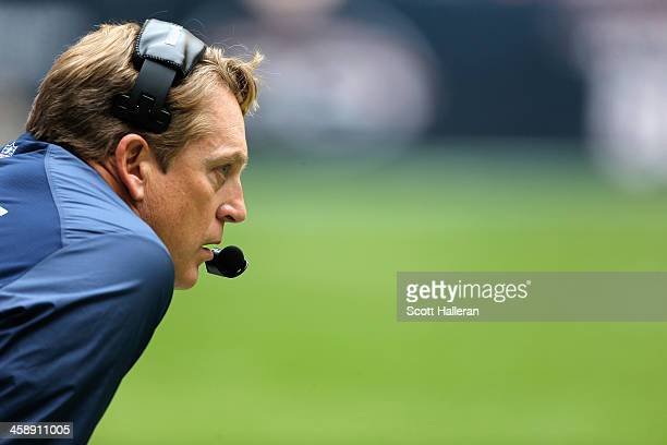 Defensive coordinator Jack Del Rio of the Denver Broncos waits on the sideline during the first half of the game against the Houston Texans at...