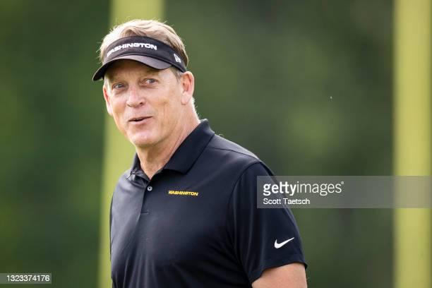 Defensive coordinator Jack Del Rio of the Washington Football Team reacts during mandatory minicamp at Inova Sports Performance Center on June 10,...