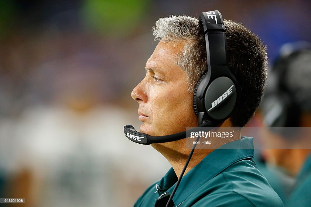 Defensive Coordinator Jim Schwartz of the Philadelphia Eagles and formally head coach of the Detroit Lions watches his defense at Ford Field on October 9, 2016 in Detroit, Michigan.