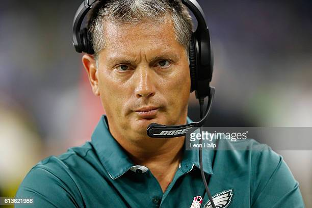 Defensive Coordinator Jim Schwartz of the Philadelphia Eagles and formally head coach of the Detroit Lions watches his defense at Ford Field on...