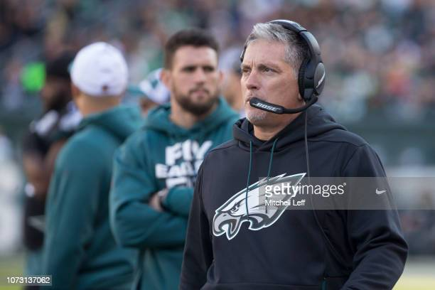 Defensive coordinator Jim Schwartz of the Philadelphia Eagles looks on against the New York Giants at Lincoln Financial Field on November 25 2018 in...