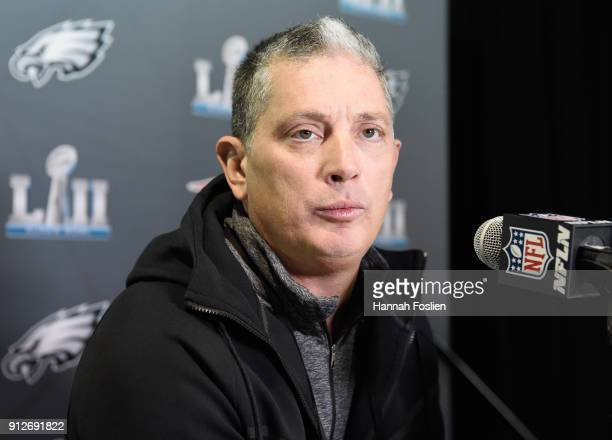 Defensive coordinator Jim Schwartz of the Philadelphia Eagles speaks to the media during Super Bowl LII media availability on January 31 2018 at Mall...