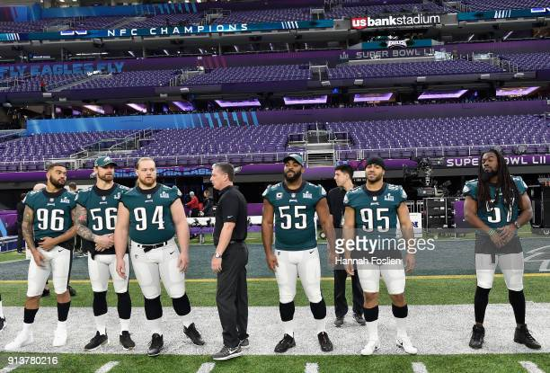 Defensive coordinator Jim Schwartz speaks to his players during Super Bowl LII practice on February 3 2018 at US Bank Stadium in Minneapolis...