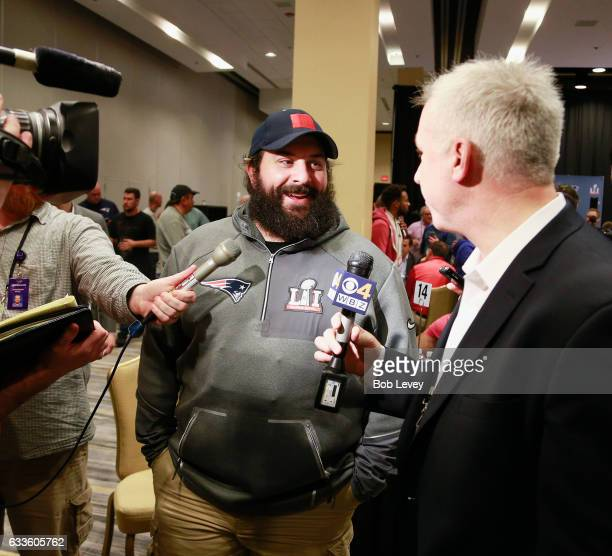 Defensive coordinator Matt Patricia answers questions during Super Bowl LI media availability at the JW Marriott on February 2 2017 in Houston Texas