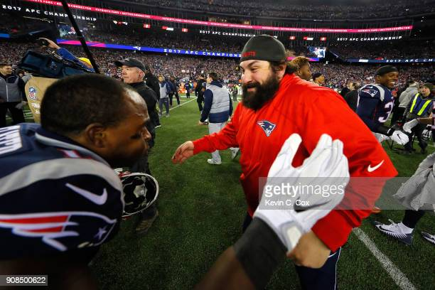 Defensive coordinator Matt Patricia celebrates with Matthew Slater of the New England Patriots after the AFC Championship Game against te...
