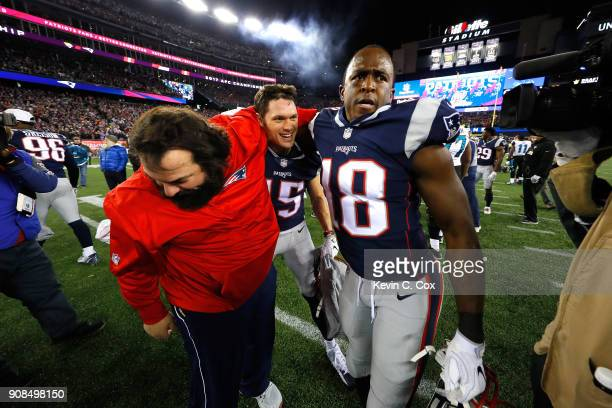 Defensive Coordinator Matt Patricia Chris Hogan of the New England Patriots and Matthew Slater celebrate after winning the AFC Championship Game...