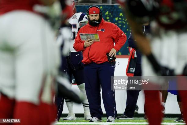 Defensive coordinator Matt Patricia for the New England Patriots looks on in the first half during Super Bowl 51 at NRG Stadium on February 5 2017 in...
