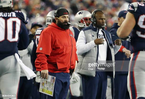 Defensive Coordinator Matt Patricia of the New England Patriots reacts in the second half during the AFC Championship Game against the Jacksonville...