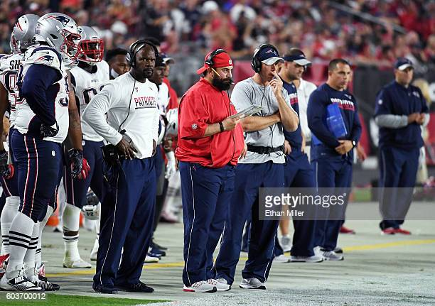 Defensive coordinator Matt Patricia of the New England Patriots looks on from the sideline during the team's NFL game against the Arizona Cardinals...