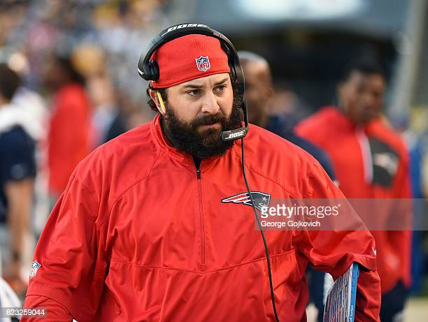 Defensive coordinator Matt Patricia of the New England Patriots looks on from the sideline during a game against the Pittsburgh Steelers at Heinz...