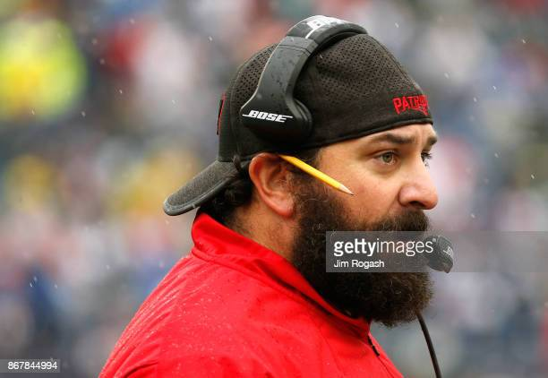 Defensive Coordinator Matt Patricia of the New England Patriots looks on before a game against the Los Angeles Chargers at Gillette Stadium on...