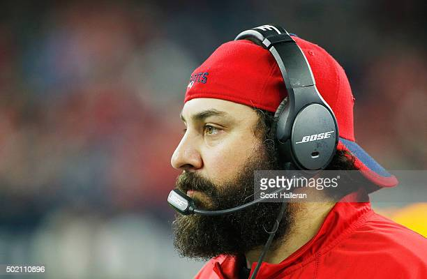 Defensive Coordinator Matt Patricia of the New England Patriots watches the action on the sidelines during their game against the Houston Texans at...