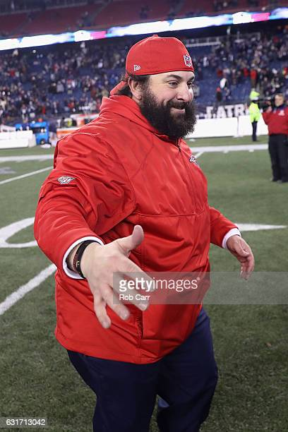 Defensive coordinator Matt Patricia of the New England Patriots reacts after the Patriots 3416 victory over the Houston Texas in the AFC Divisional...
