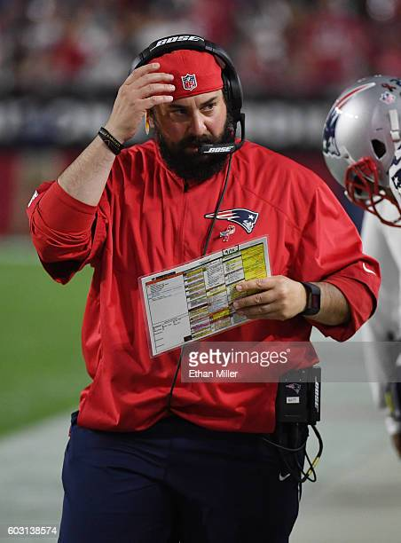 Defensive coordinator Matt Patricia of the New England Patriots walks on the sideline during the team's NFL game against the Arizona Cardinals at...