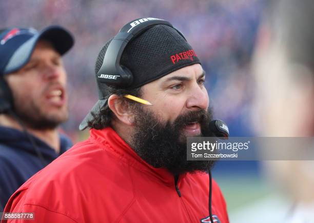 Defensive coordinator Matt Patricia of the New England Patriots yells out from the sideline during NFL game action against the Buffalo Bills at New...