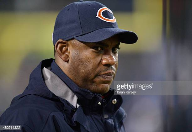 Defensive coordinator Mel Tucker of the Chicago Bears on the field during pregame warm ups before a game against the New Orleans Saints at Soldier...
