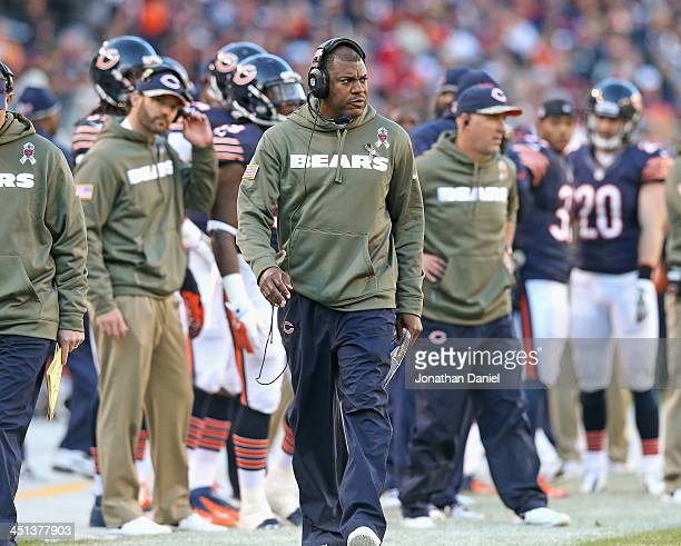 Defensive coordinator Mel Tucker of the Chicago Bears watches his team against the Detroit Lions at Soldier Field on November 10 2013 in Chicago...