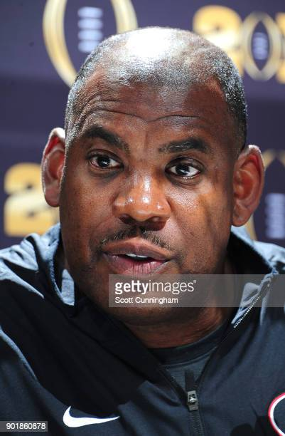 Defensive Coordinator Mel Tucker of the Georgia Bulldogs speaks to the media during the College Football Playoff National Championship Media Day at...