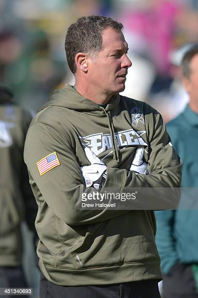 Defensive coordinator Pat Shurmur of the Philadelphia Eagles looks on before the game against the Green Bay Packers at Lambeau Field on November 10...