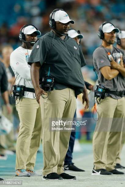 Defensive coordinator Patrick Graham of the Miami Dolphins looks on during the preseason game against the Atlanta Falcons at Hard Rock Stadium on...