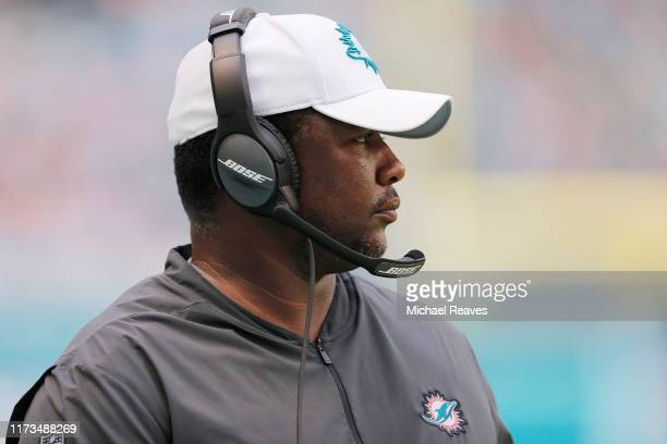Defensive coordinator Patrick Graham of the Miami Dolphins looks on against the Baltimore Ravens at Hard Rock Stadium on September 08 2019 in Miami...