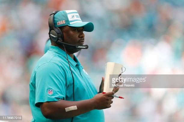 Defensive coordinator Patrick Graham reacts against the Los Angeles Chargers during the second quarter at Hard Rock Stadium on September 29 2019 in...