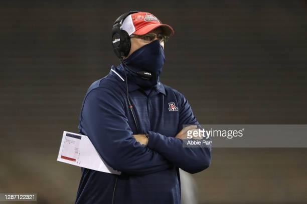 Defensive Coordinator Paul Rhoads of the Arizona Wildcats watches play in the third quarter against the Washington Huskies at Husky Stadium on...