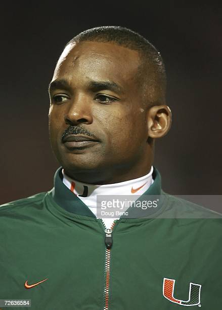 Defensive coordinator Randy Shannon of the University of Miami Hurricanes watches his team go through drills before taking on the Boston College...