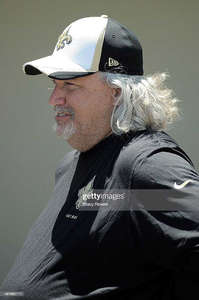 Defensive coordinator Rob Ryan watches his team during the New Orleans Saints rookie minicamp at the Saints training facility on May 17, 2014 in Metairie, Louisiana.