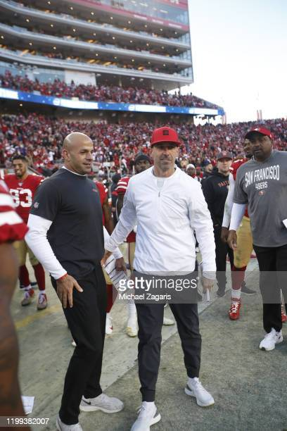 Defensive Coordinator Robert Saleh and Head Coach Kyle Shanahan of the San Francisco 49ers stand on the sideline during the game against the...