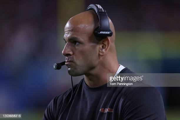 Defensive coordinator Robert Saleh of the San Francisco 49ers looks on against the Kansas City Chiefs during the fourth quarter in Super Bowl LIV at...