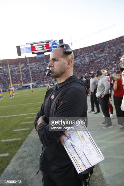 Defensive Coordinator Robert Saleh of the San Francisco 49ers stands on the sideline during the game against the Los Angeles Rams at the LA Memorial...