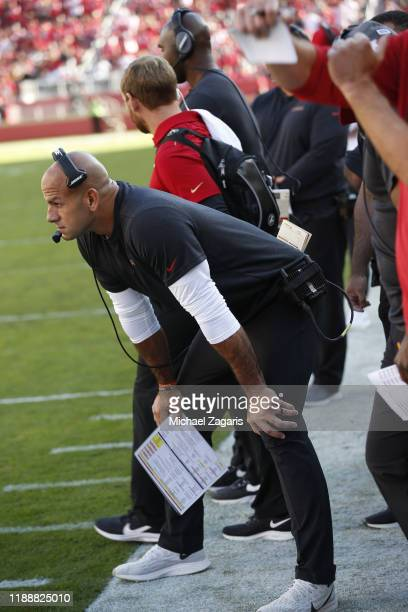 Defensive Coordinator Robert Saleh of the San Francisco 49ers stands on the sideline during the game against the Arizona Cardinals at Levi's Stadium...