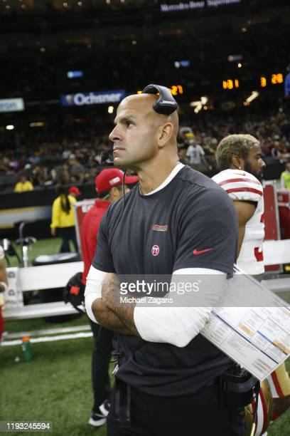 Defensive Coordinator Robert Saleh of the San Francisco 49ers stands on the sideline during the game against the New Orleans Saints at the...