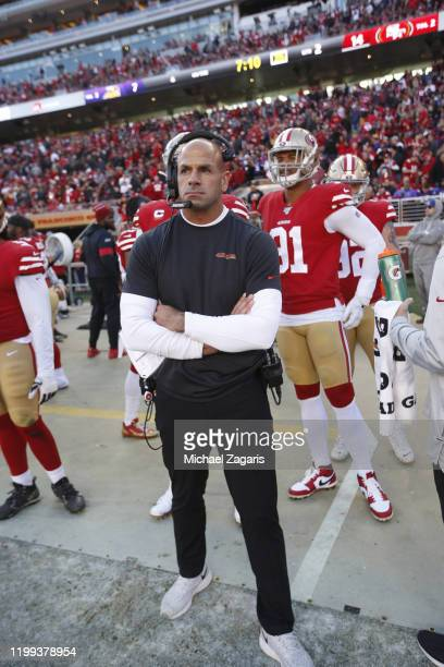 Defensive Coordinator Robert Saleh of the San Francisco 49ers stands on the sideline during the game against the Minnesota Vikings at Levi's Stadium...